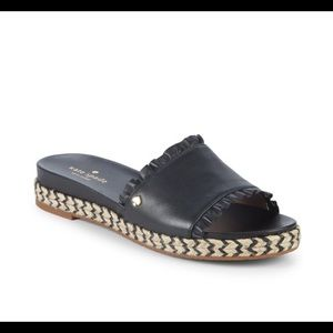 Kate Spade Zahara  Black Leather Espadrilles New
